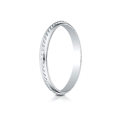 14k White Gold 2mm High Polished Rope Center Design Band