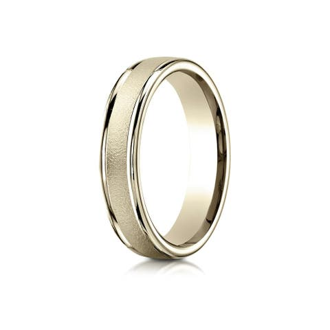 14k Yellow Gold 4mm Comfort-fit Wired-finished High Polished Round Edge Carved Design Band