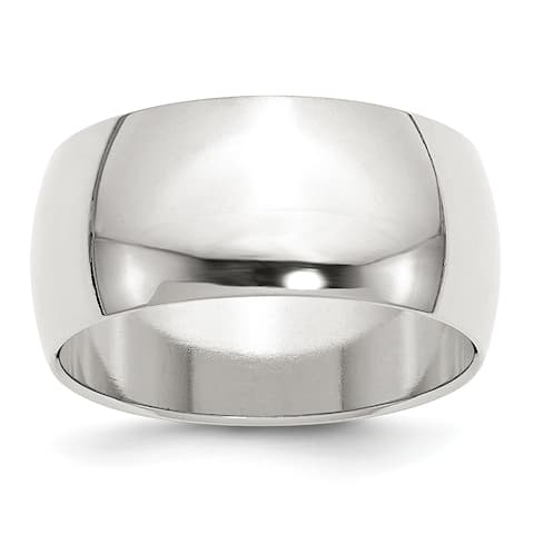 Versil Sterling Silver 10mm Half Round Band - White