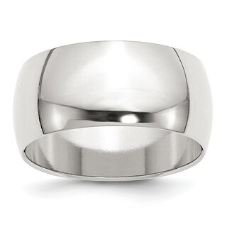 Versil Sterling Silver 10mm Half Round Band - White