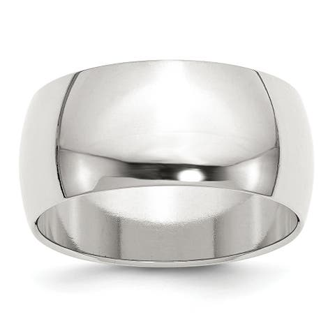 Sterling Silver 10mm Half Round Band - White by Versil