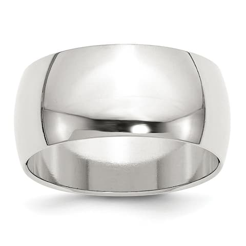 Sterling Silver Polished 10mm Half Round Wedding Band by Versil - White