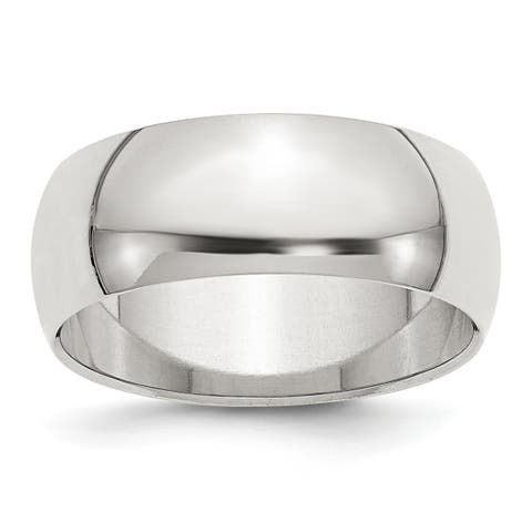 Versil Sterling Silver 8mm Half-Round Band - White
