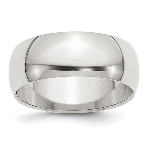 Sterling Silver 8mm Half-Round Band - White by Versil