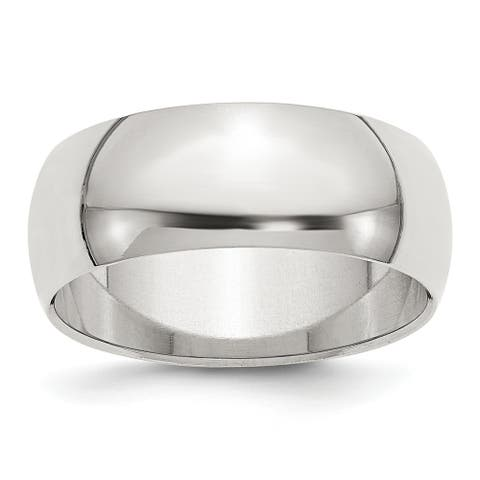 Sterling Silver Polished 8mm Half-Round Wedding Band by Versil - White