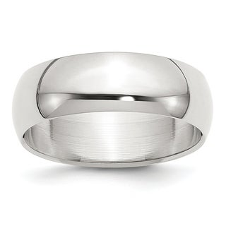 Sterling Silver 7mm Half-Round Band - White