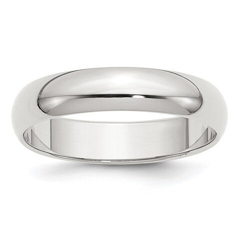 Sterling Silver 5mm Half-Round Band - White