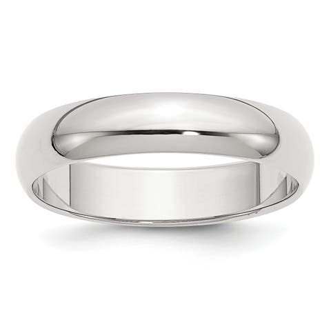 Versil Sterling Silver 5mm Half-Round Band - White
