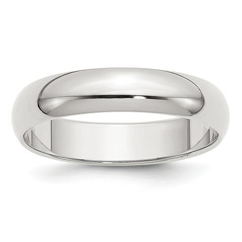 Sterling Silver 5mm Half-Round Band - White by Versil