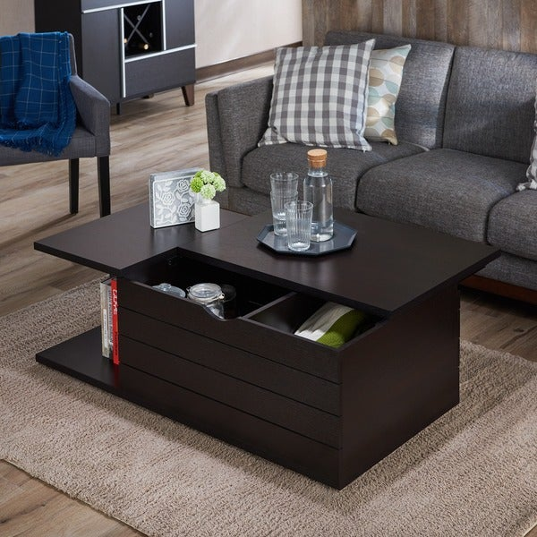 Furniture of America Topson Multi-Storage Slide Top Cappuccino Coffee Table