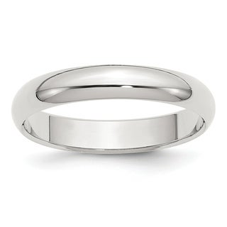 Sterling Silver 4mm Half-Round Band - White