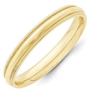 10 Karat Yellow Gold 3mm Milgrain Comfort Fit Band