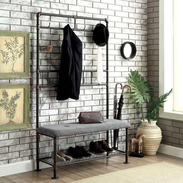 Genial Furniture Of America Revo Industrial Pipe Inspired 45 Inch Sand Black  Hallway Bench With