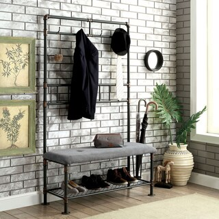Furniture of America Revo Industrial Pipe-Inspired 45-inch Sand Black Hallway Bench with Coat Hooks