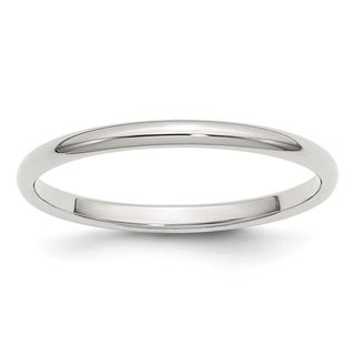 Sterling Silver 2mm Half-Round Band - White