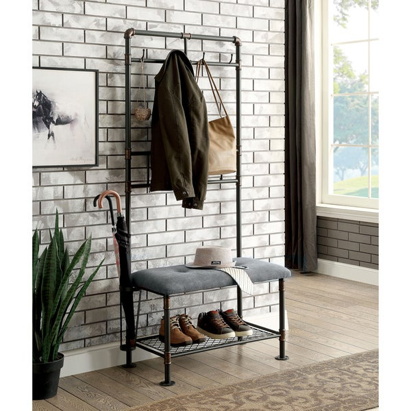 Exceptionnel Furniture Of America Revo Industrial Sand Black 34 Inch Coat Rack Hallway  Bench