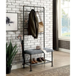 Furniture of America Revo Industrial Sand Black 34-inch Coat Rack Hallway Bench