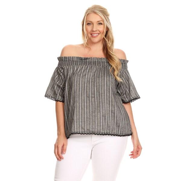 923b6ce025234 Xehar Women  x27 s Plus Size Casual Off Shoulder Crochet Lace Trim Blouse  Top