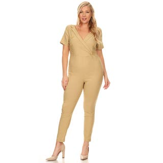 Xehar Women's Plus Size Slimming V-Neck Button Jumpsuit Playsuit (Option: 1x)|https://ak1.ostkcdn.com/images/products/15867104/P22275726.jpg?impolicy=medium