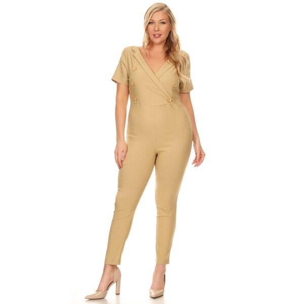 32e2bd8ea48 Xehar Women  x27 s Plus Size Slimming V-Neck Button Jumpsuit Playsuit
