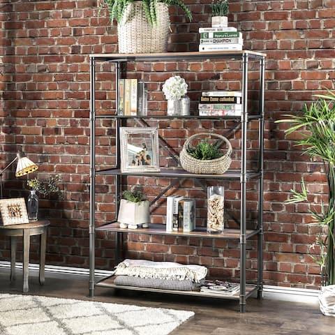 Furniture of America Revo Industrial Black Metal 5-tier Bookshelf