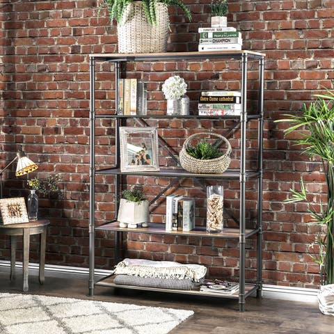 Revo Industrial Sand Black Pipe-inspired 5-tier Bookshelf by FOA