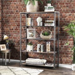 Furniture of America Revo Industrial Pipe-inspired 5-tier Sand Black Bookshelf