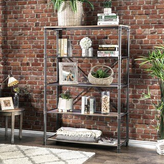 Furniture of America Revo Industrial Pipe-inspired 5-tier Sand Black Bookshelf