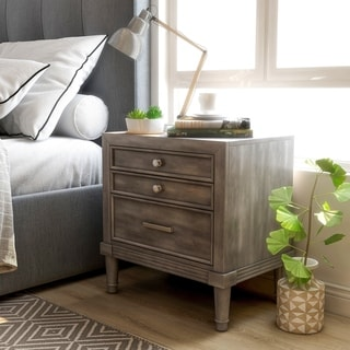 Furniture of America Hax Contemporary Grey Solid Wood Nightstand
