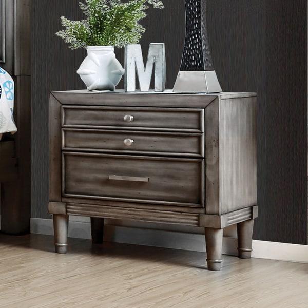 Furniture Of America Kerilan Transitional 3 Drawer Grey Nightstand With Hidden Drawer Free