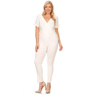 Xehar Women's Plus Size Slimming V-Neck Button Jumpsuit Playsuit