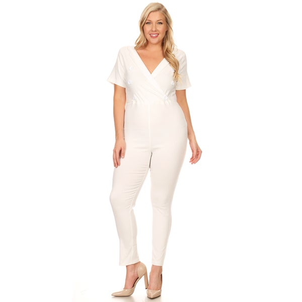 Shop Xehar Womens Plus Size Slimming V Neck Button Jumpsuit