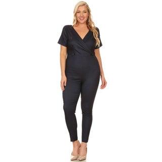 Xehar Women's Plus Size Slimming V-Neck Button Jumpsuit Playsuit