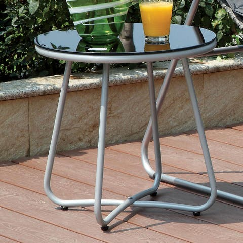 Furniture of America Heon Contemporary Grey Round Outdoor Side Table