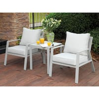 Furniture of America Nila Contemporary Outdoor Panel Style Grey Fabric Arm Chair