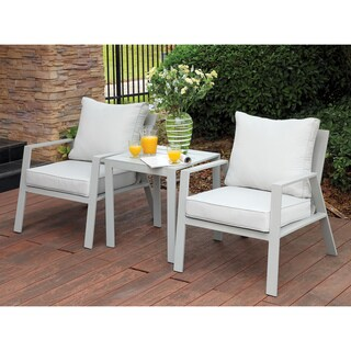 Furniture of America Nila Contemporary Outdoor Panel Style Grey Microfiber Arm Chair