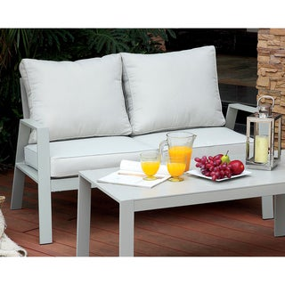 Furniture of America Nila Contemporary Outdoor Panel Style Grey Fabric Loveseat