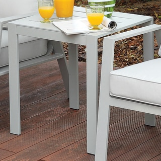 Furniture of America Nila Contemporary Panel Style Outdoor End Table in Grey