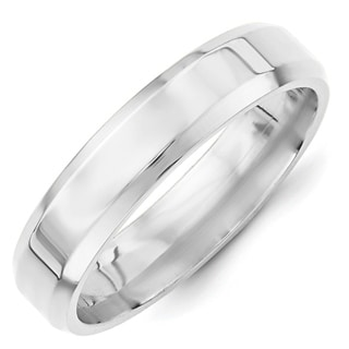 Link to 10K White Gold 5mm Polished Bevel Edge Comfort Fit Band by Versil Similar Items in Rings