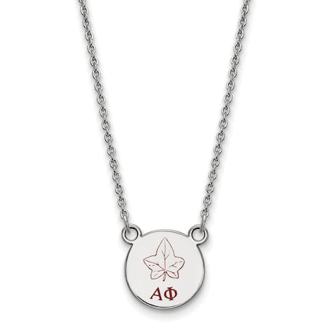 af96cbb8 Sterling Silver Alpha Phi Extra Small Enameled Pendant With 18 inch Chain