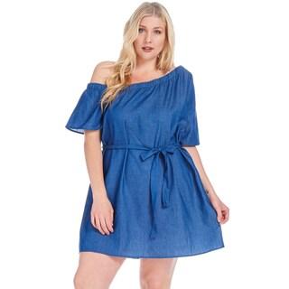 Xehar Women's Plus Size Off Shoulder Denim Mini Dress