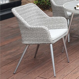 Furniture of America Sunni Contemporary Aluminum Wicker Grey Outdoor Chair (2 options available)