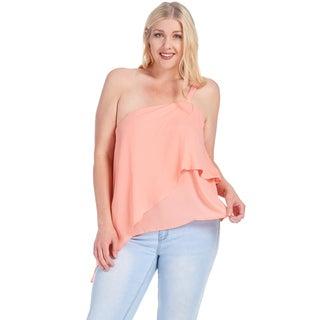 Xehar Women's Plus Size Chiffon Sleeveless One Shoulder Blouse Top