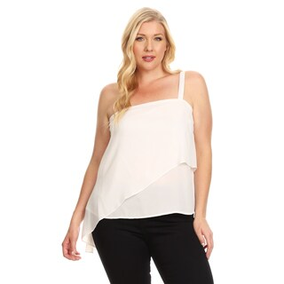 Xehar Women's Plus Size Chiffon Sleeveless One Shoulder Blouse Top