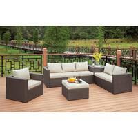 Furniture of America Pauline Contemporary 6-piece Aluminum Wicker Brown/Beige Outdoor Sofa Set