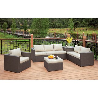 Furniture of America Pauline Contemporary 6-piece Aluminum Wicker Brown/Beige Outdoor Sofa Set