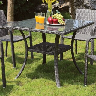 Furniture of America Telene Contemporary Outdoor Glass Top Grey Aluminum Wicker Dining Table