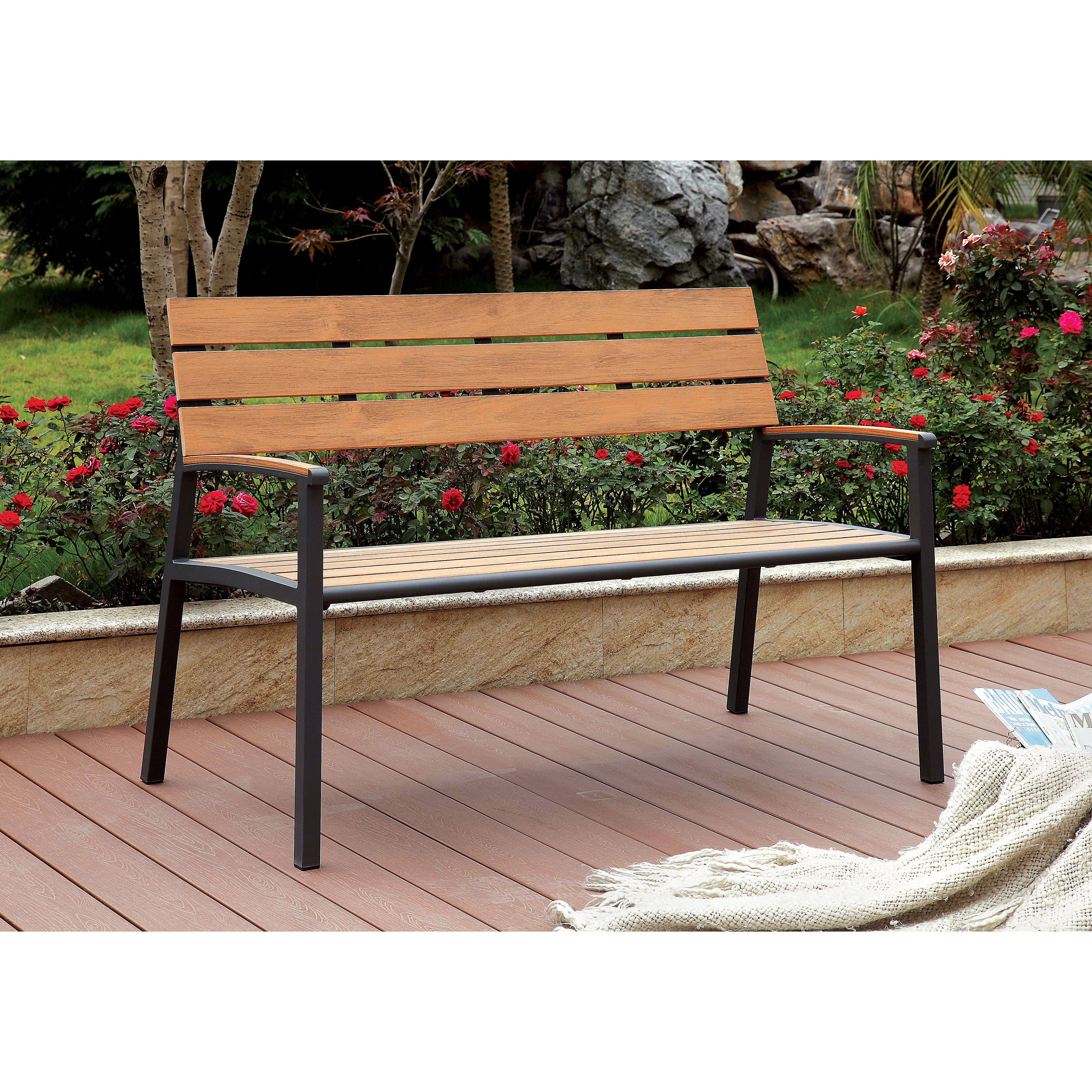Furniture of America Galera Classic Slatted Aluminum Outdoor Bench ...
