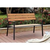 Furniture of America Galera Classic Slatted Aluminum Outdoor Bench