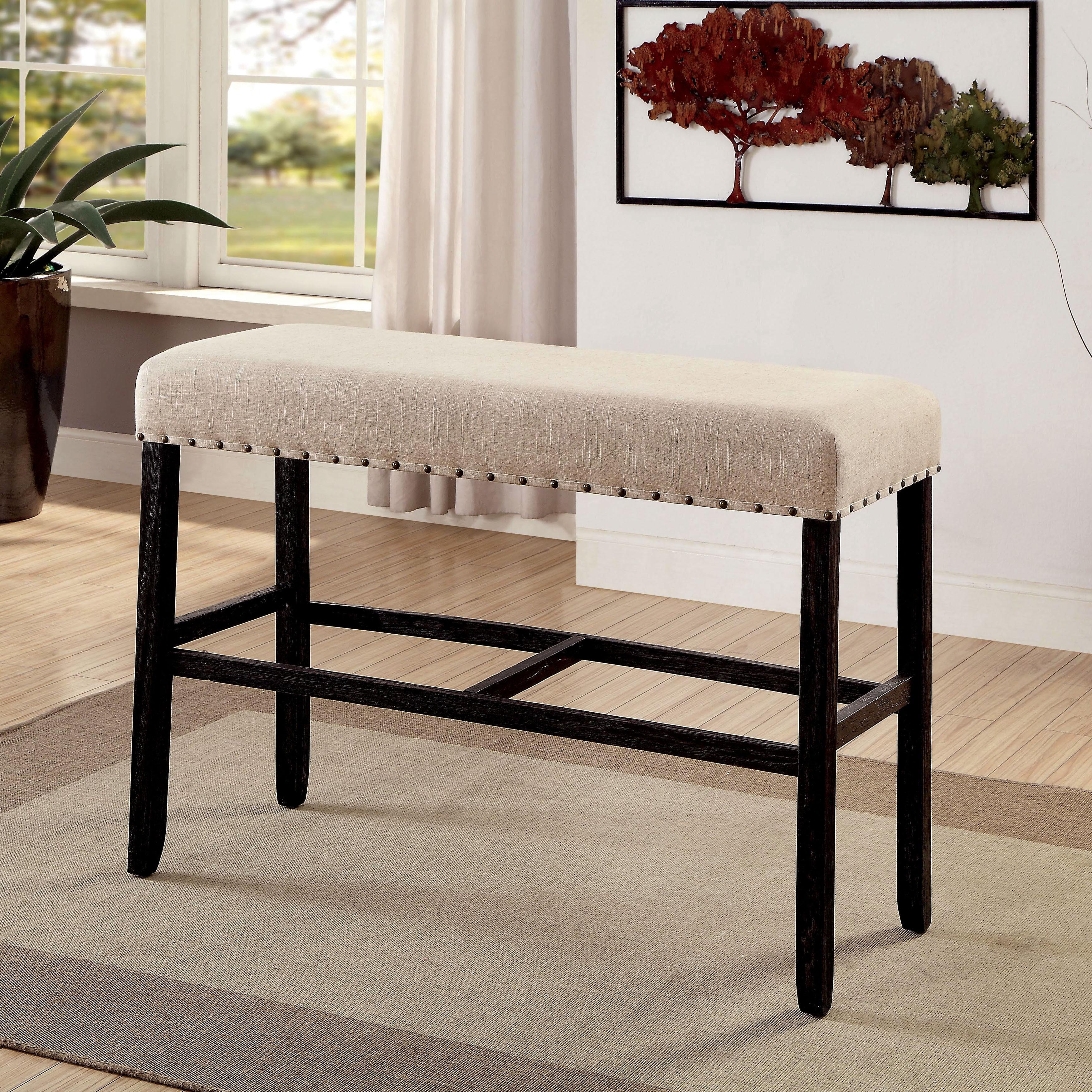 Furniture Of America Telara Contemporary Antique Black Bar Height Dining  Bench